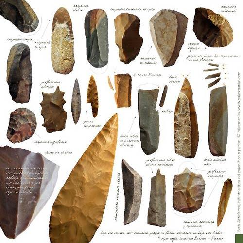 Lámina tipología lítica paleolítico superior. Paleomanías